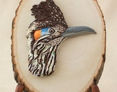 Roadrunner Polymer Clay Bird Sculpture on Basswood, Southwestern Décor, New Mexico Bird Lover Gift, Wildlife Art, Bas Relief Desert Art