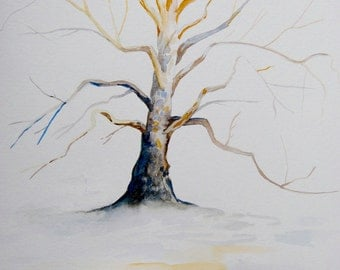 "Sycamore Tree in Winter Watercolor Painting, Original Art, Landscape Painting, 9""x12"""