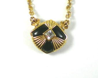 Avon Gold Black Necklace - Gold Black Geometric Necklace Pendant - Vintage Avon Necklace - Vintage Jewelry
