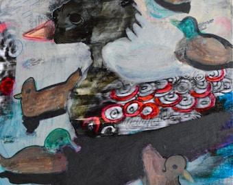 OOAK Fancy Duck Painting on Panel