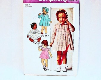 1970s Todder Dress Pattern Toddler size 3 UNCUT Toddler Girl Dress Coat and Hat Vintage Sewing Pattern 70s