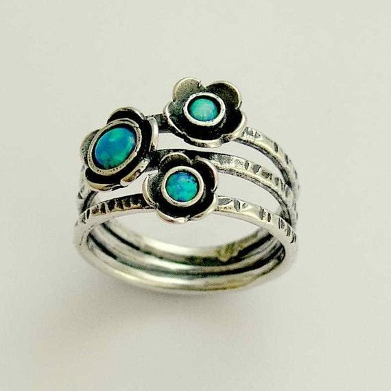 Blue opals ring, Mothers Ring, sterling silver ring, oxidized silver ring, multi stones ring, birthstones ring, blue stones - Guess R1686-1