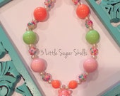Care Bears Cheer Bear Rainbow Chunky Bubblegum Bead Necklace Retro Kids Cartoon