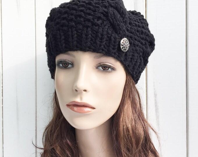 Hand Knit woman winter Hat wool Beret Hat Black hat crystal metal button