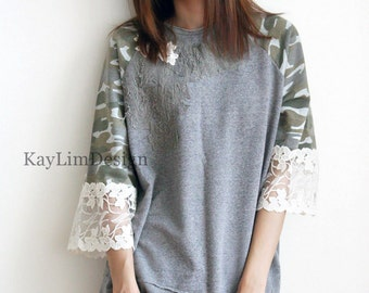 Loose fitted top / military top / lace top / loose fit sweatshirt / tattered tshirt / camouflage tshirt- KT598