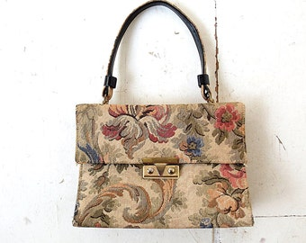 50s Floral Tapestry Purse | 1950s Handbag | Tapestry Bag