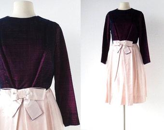 1960s Party Dress | Purple Velvet Dress | 60s Dress | S M