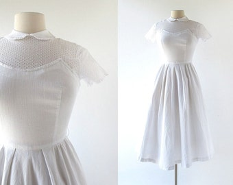 Vintage 1940s Dress / Wake Up and Dream / White Eyelet Dress / 40s Dress / XXS