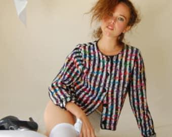 Indie Crop Sweater Vintage 80s Black and White Crop Slouchy Indie Hipster Crop Sweater Cardigan (m l)