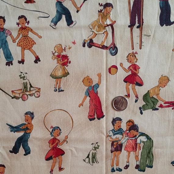Pt026 vintage fabric children print baseball cowboys tennis for Vintage childrens fabric prints