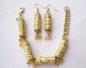 BAROQUE LUXE - Elegant 2 Piece Jewelry Set - Pillar Earrings & Cylinder Bracelet Set