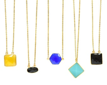 Choose Your Design Necklace Chalcedony/Onyx  Station Necklace,Aqua Blue Gemstone, Gold Filled Necklace