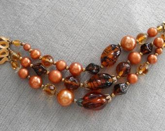 Vintage Trifari 3-Strand Beaded Bracelet, Amber and Brown