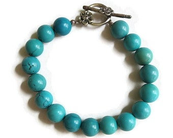 Vintage Turquoise Blue Beaded Bracelet with Sterling Silver Toggle Clasp