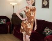 Vintage 1960s Dress - Crisp Cotton Aloha Mini Dress in Classic Tiki Style Hibiscus Print