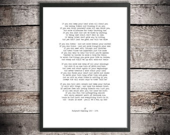 Rudyard Kipling Instant Download 'If - You Will Be A Man, My Son' Printable Poem Graduation Gift Wedding Gift Inspirational Poetry Print