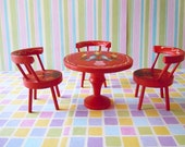Sale Take 30% Off Vintage Dollhouse Miniatures Furniture Wooden Red Dining Room Table Chairs Painted Folk Art Stocking Stuffer