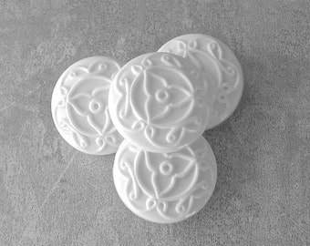 Carved White Buttons, 28mm 1-1/8 inch - Large White Flower Mandala Buttons - 4 VTG NOS White Plastic Shank Buttons with Raised Design PL274