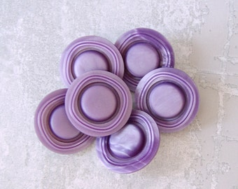 Lavender Shank Buttons, 27mm 1-1/8 inch - Retro Mod Satin Purple Plastic Buttons - 6 VTG NOS Wacky Cosmic Carved Ring-Around Buttons PL366