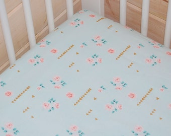 mint gold baby bedding-  mint crib sheet, mint crib sheet/ changing pad cover- rose crib sheet, pink  gold crib sheet