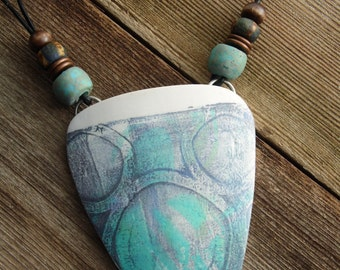 Polymer Clay Large Pendant Beach Jewelry featuring Abstract Circles Design in Turquoise, Gray and White