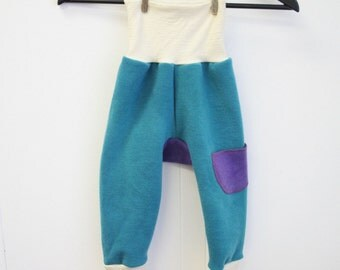LARGE wool pants age 1 to 3 years toddler - longies - harem pants - baggy merino wool and lambswool stripes