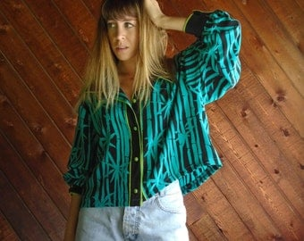 Bamboo Print SILK Slouchy Crop Blouse - Vtg 90s - LARGE