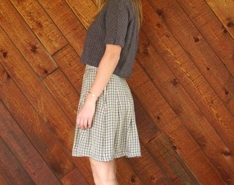 extra 30% off sale . . . Brown Plaid Mini School Girl Skirt - Vintage 90s - S M