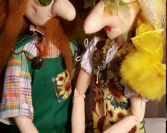 Ingeborg & Norbert - Sweethearts - a couple of real characters OOAK- handmade