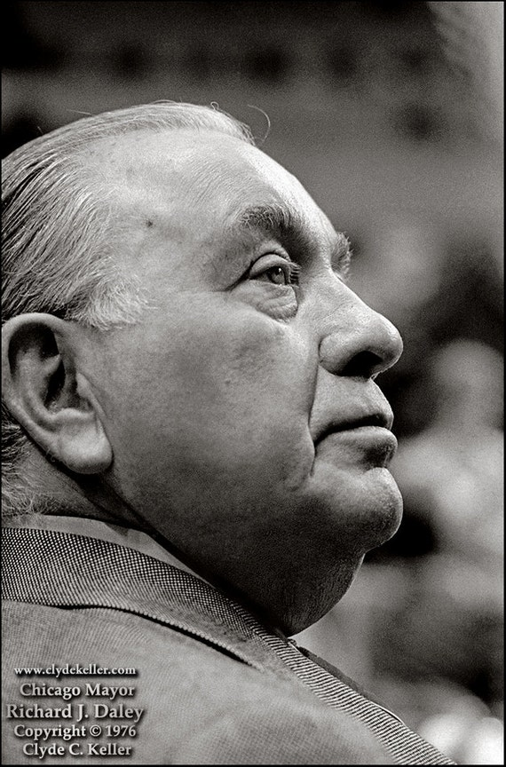 Chicago Mayor, RICHARD J. DALEY, Clyde Keller Photo, Fine Art Print, Signed, Black and White, Treasury, vintage 1976 portrait