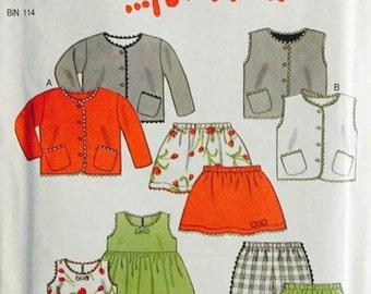 New Look For Kids Sewing Pattern - Dress Pants Skirt Vest Jacket 6856