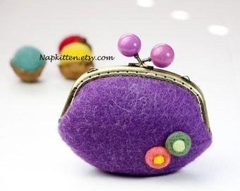 Big Wool wallet, wool bag, felted bag,coin Purse wallet, Coin Pouch, Change purse, frame coin purse, Handmade