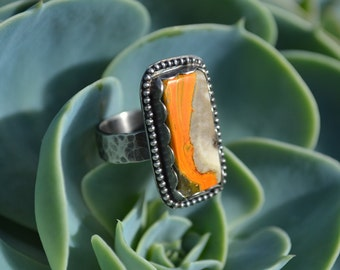 Wave Ring Bumble Bee Jasper Rectangle Ring Size 7 Absolute One of a Kind