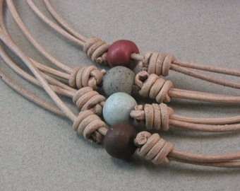 tan leather choker necklaces with clay beads adjustable sliding knot necklaces  beaded chokers 3997