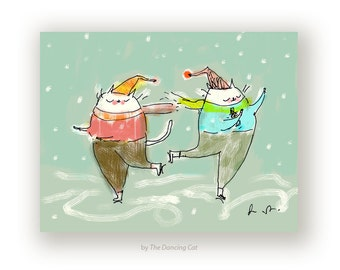 The Skaters - Cat Card - Winter Greeting Card - Holiday Cards - Christmas Card - Ice Skating