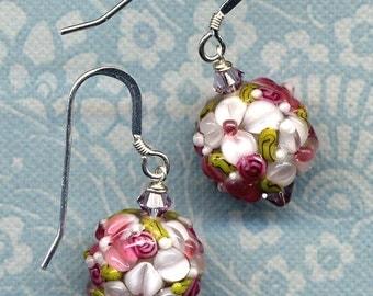 Sterling Silver Earrings, Raspberry and White Floral Earrings, Lampwork Glass Earrings, Swarovski Crystal Earrings, 925 silver by AnnaArt72