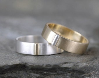 Gold & Silver Wedding Bands - 14K Yellow Gold and Sterling Silver - Coordinating Bands - Commitment Ring - Couples Rings - Mixed Metal Ring