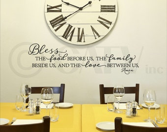 Bless the food before us, the family beside us and the love between us vinyl lettering wall decal self adhesive sticker quote
