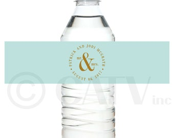 W125 - Custom classy chic water bottle labels self adhesive water proof personalized you choose colors vinyl label sticker wrap waterproof