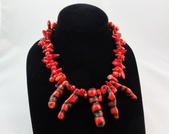 """Red Coral Fingers Necklace- Chunky Coral Beaded Necklace, Red & Black Coral Beads Statement Necklace, Witch Fingers, 17"""" Long, Handmade"""