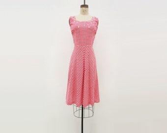 40s Gingham Dress 1940s Vintage Dress Red White 40s Dress 1940s Gingham Dress Fit Flare Dress Rockabilly 40s Dress Medium