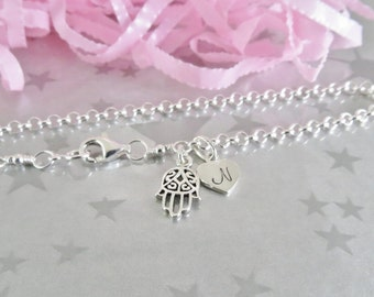 Sterling Silver Hamsa Charm Bracelet - Personalized Heart Initial Charm - Hand Stamped Sterling Silver Charm Jewelry - Gracie Jewellery