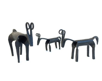 Mid Century Brutalist Deer sculpture~ Hand forged Iron Deer family~ Wild forged antlers~ Unique small sculpture set