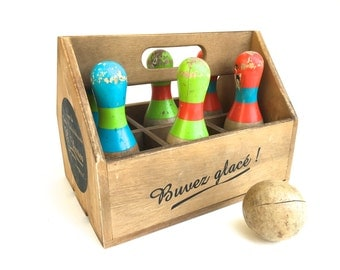 Vintage French Toy Bowling Set~ Old wooden bowling pins and ball in wooden crate~ Nursery decor