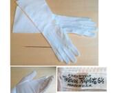 1950s White Pique Vintage Gauntlet Gloves SZ 6 1/2
