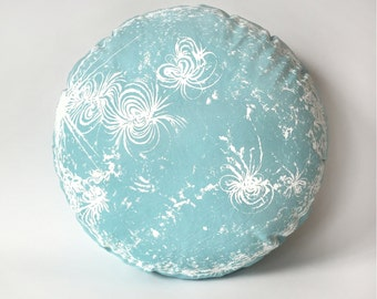 Sun Pillow Star Throw Pillow Sol Celadon round plush space printed sewn case washable removable cover boho chic children adults handmade