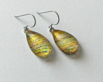 Hypoallergenic Yellow Dangle Earrings - Titanium Ear Hooks - Contains No Nickle - Great For Sensitive Ears- One of a Kind