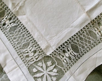 Vintage Table Cloth,  Drawnwork cloth, Card Table Cloth,  Cottage Chic Linens, Up cycle Sewing, 1930s Table Linens, Farmhouse Linens