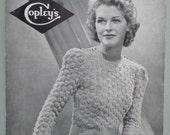 Vintage 1930s 1940s Knitting Pattern Womens Sweater Jumper 30s 40s original pattern WW2 WWII wartime Bestway No. 571 Copley's UK vine stitch