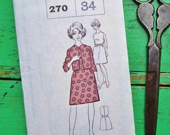 Vintage Sewing Pattern 60s 70s Women's Suit Dress and Jacket - Sunday People Pattern No. 270 UK - US Size 10 - UK Size 12 - factory folded